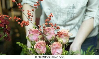 fleuristes, intérieur, arrangement, floral, table, marques, magasin