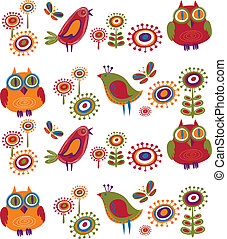 fleurs, 2, -, oiseaux