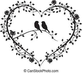 fleurs, 4, coeur, oiseaux