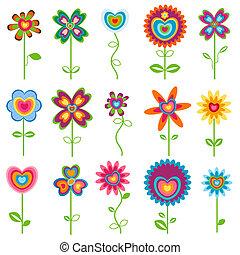 fleurs, amour, retro