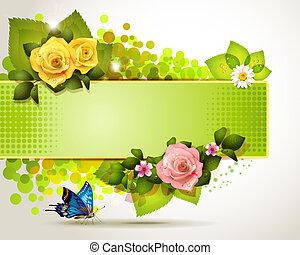 fleurs, bannière, conception