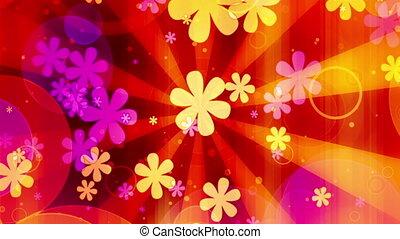 fleurs, boucle, clair, retro