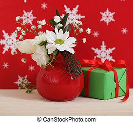 fleurs, bouquet, hiver, présent