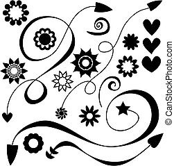 fleurs, cœurs, flèches