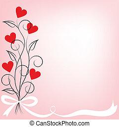 fleurs, coeur, bouquet, formé