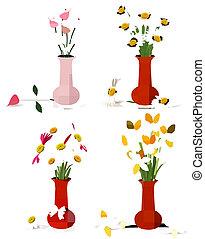 fleurs colorées, été, vases, printemps