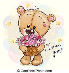 fleurs, dessin animé, ours, teddy