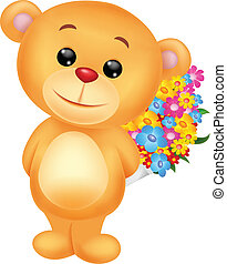 fleurs, dessin animé, ours