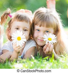 fleurs, enfants, heureux