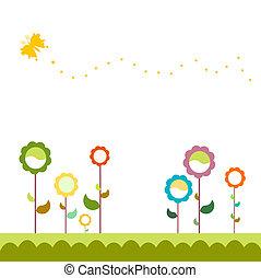 fleurs, ensemble, herbe