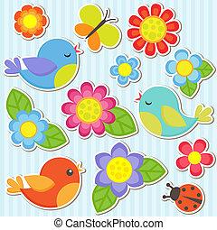 fleurs, ensemble, oiseaux