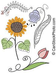 fleurs, ensemble, travail manuel, résumé