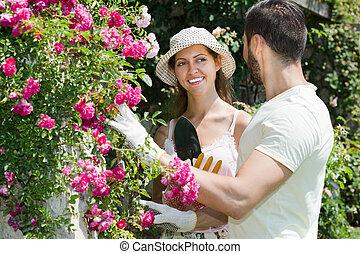 fleurs, famille, jardin, heureux