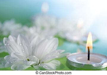 fleurs, flotter, bougies