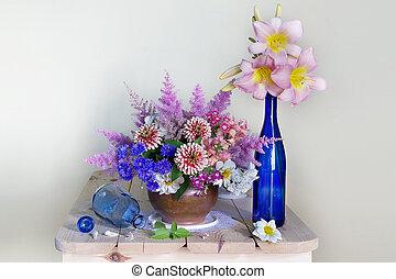 fleurs, fond blanc, vie, table, vase, encore, beau