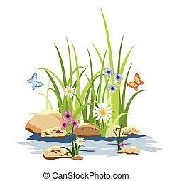 fleurs, herbe, vert, rocher
