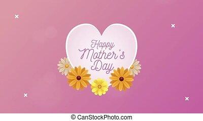 fleurs jaunes, mères, coeur, jour, lettrage, heureux