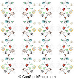 fleurs, ladybirds