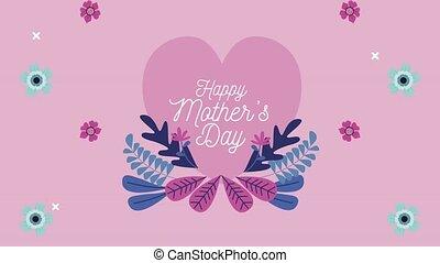 fleurs, mères, coeur, jour, lettrage, heureux