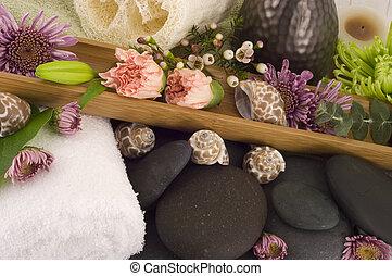 fleurs, masage, pierres