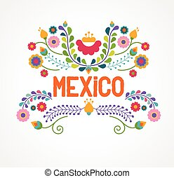 fleurs, modèle, éléments, mexique