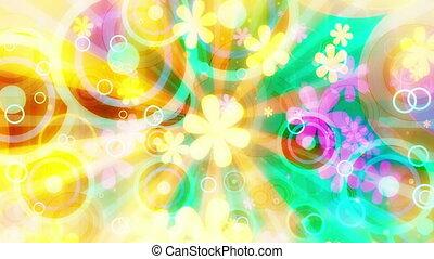 fleurs, multicolore, clair, retro