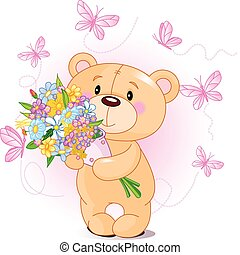 fleurs, ours peluche, rose