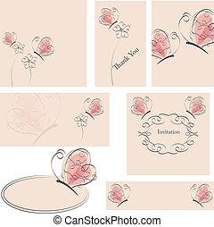 fleurs, papillons, cartes