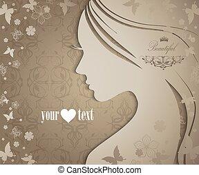 fleurs, papillons, femme, silhouette, jeune