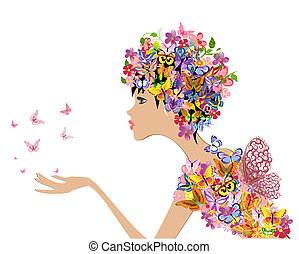 fleurs, papillons, mode, girl