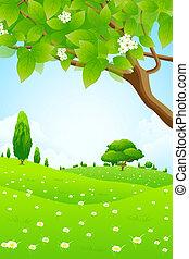 fleurs, paysage vert