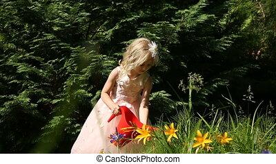 fleurs, peu, arrosage, jardin, girl