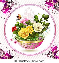 fleurs, pot fleurs