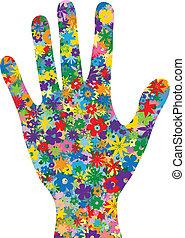 fleurs, rempli, main