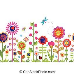 fleurs ressort, frontière, seamless