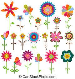 fleurs, retro