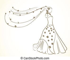 fleurs, robe, voile, mariage
