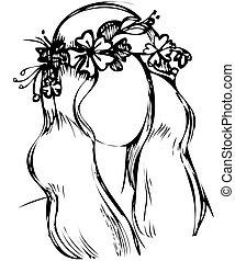 fleurs sauvages, tête, couronne, girl