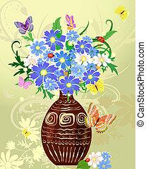 fleurs sauvages, vase