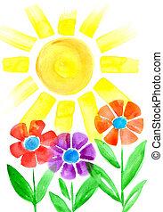 fleurs, soleil