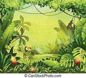 fleurs, toucan, jungle, llustration