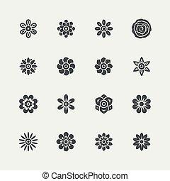fleurs, vecteur, ensemble, icône