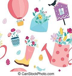 fleurs, vecteur, printemps, birdhouse, arrière-plan., seamless, enveloppe