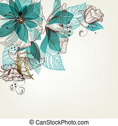 fleurs, vecteur, retro, illustration
