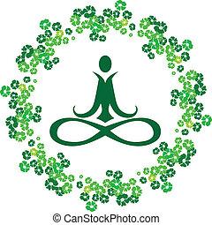 fleurs, yoga, icône