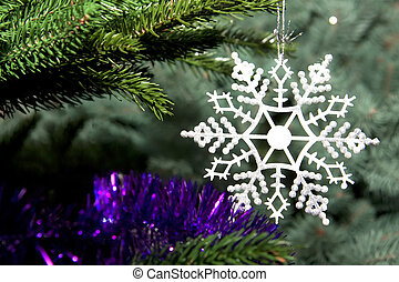 flocon de neige, arbre noël, beau