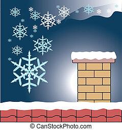 flocon de neige, cheminée