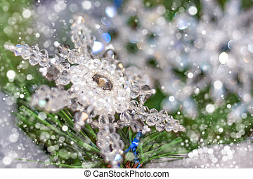 flocon de neige, noël, cristal, snow., arbre., beau, sapin