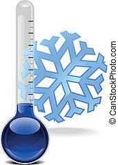 flocon de neige, thermomètre