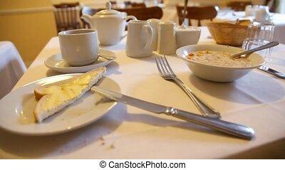 flocons avoine, coutellerie, table, café, lait